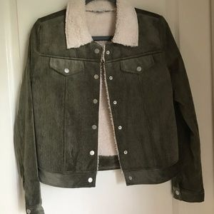 Jacket with Sherpa and army green